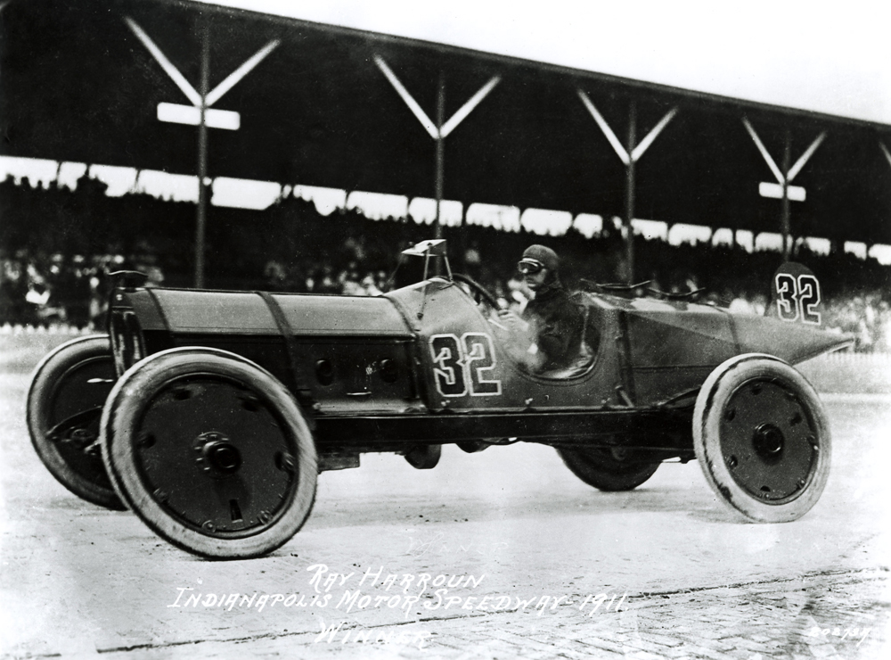 Ray Harroun in history books as the first winner of the Indy 500. His yellow Marmon was equipped with a mirror, a novelty in the automotive world